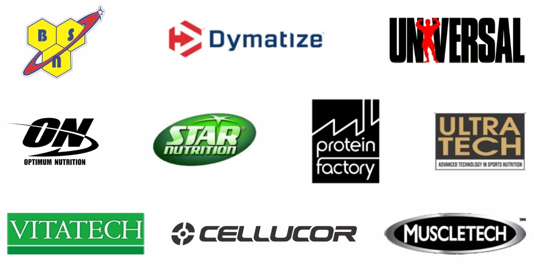 Marcas de Suplementos.com: Dymatize, BSN, Universal, Optimum Nutrition, Star Nutrition, Protein Factory, Ultra Tech, Vitatech, Cellucor, Muscletech