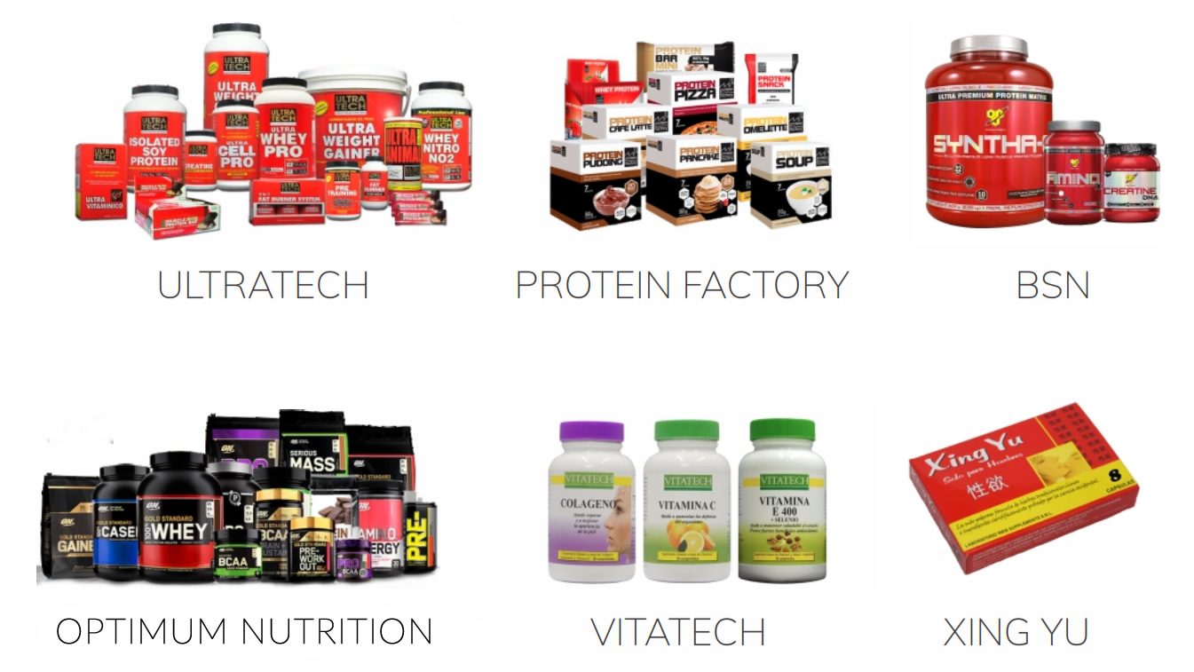 Ultratech, Protein Factory, BSN, Optimum Nutrition, Vitatech, Xing Yu