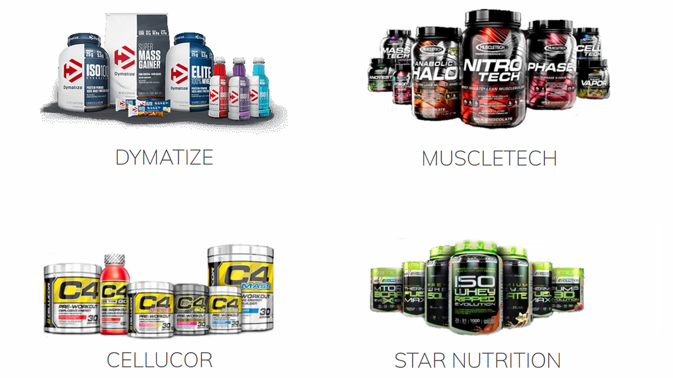 Dymatize, Muscletech, Cellucor, Star Nutrition